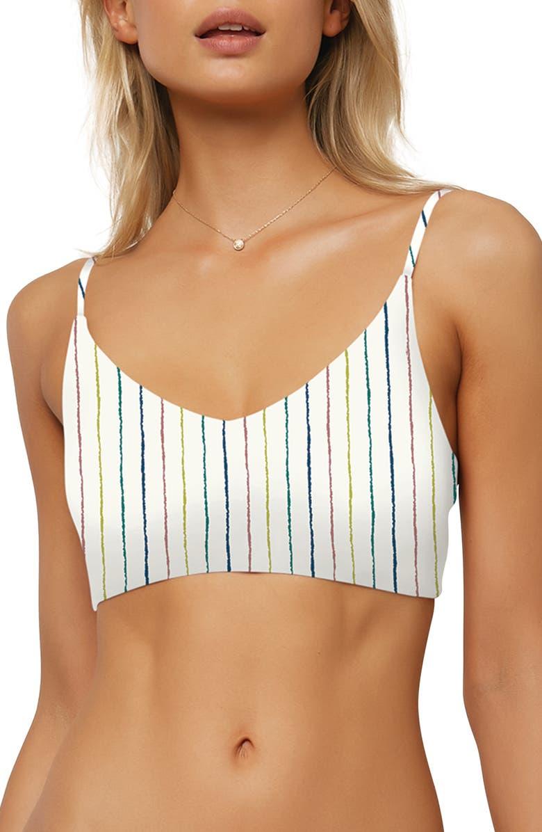 O'NEILL Bridget Stripe Bralette Bikini Top, Main, color, VANILLA