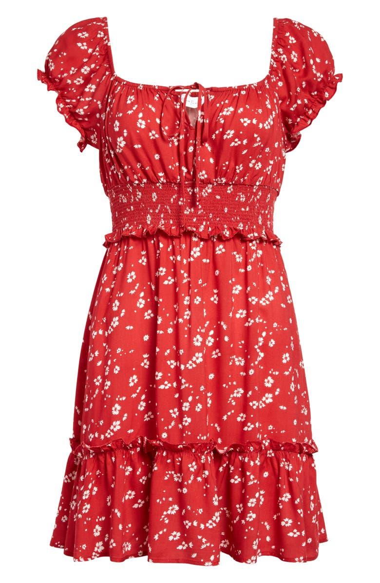 ALL IN FAVOR Smocked Minidress, Main, color, MAGENTA FLORAL