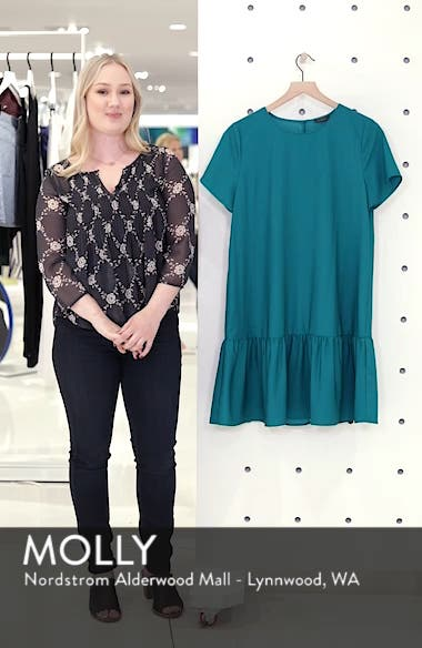 Short Sleeve Ruffle Hem Dress, sales video thumbnail