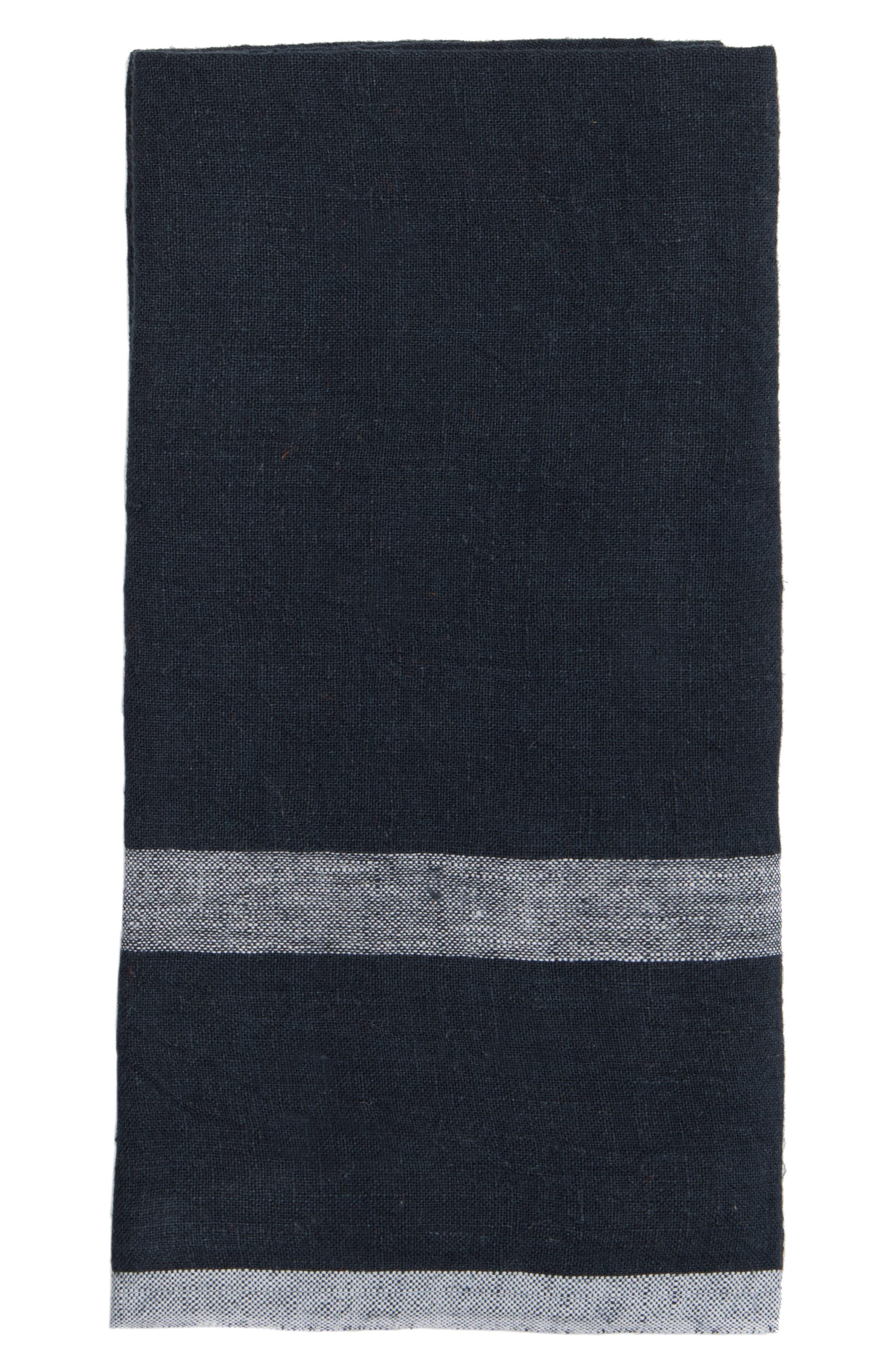 Caravan Set Of 2 Laundered Linen Tea Towels Size One Size  Blue