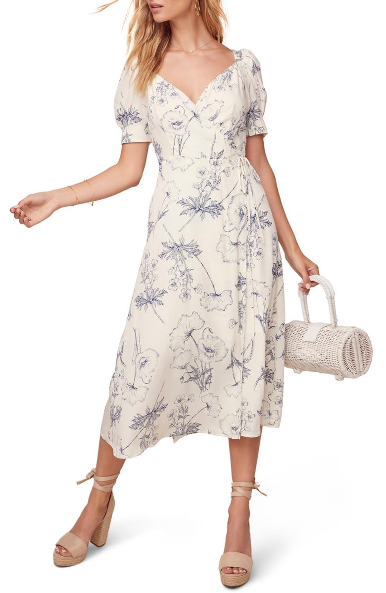 ASTR THE LABEL Elysian Dress, Main, color, NAVY SKETCH FLORAL