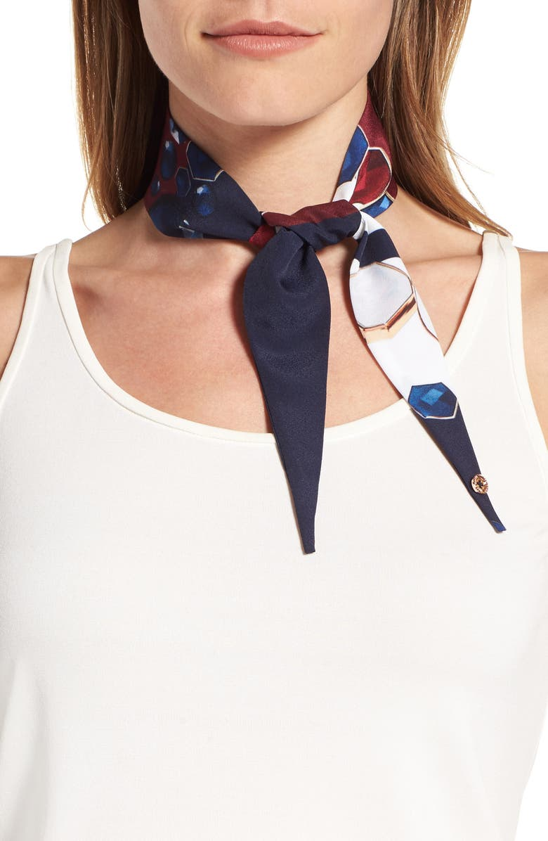 TED BAKER LONDON Rowing Stripe Skinny Scarf, Main, color, NAVY