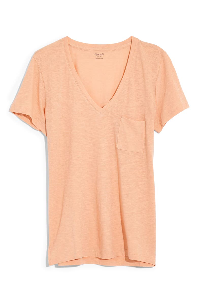 MADEWELL Whisper Cotton V-Neck Pocket Tee, Main, color, MUTED SHELL