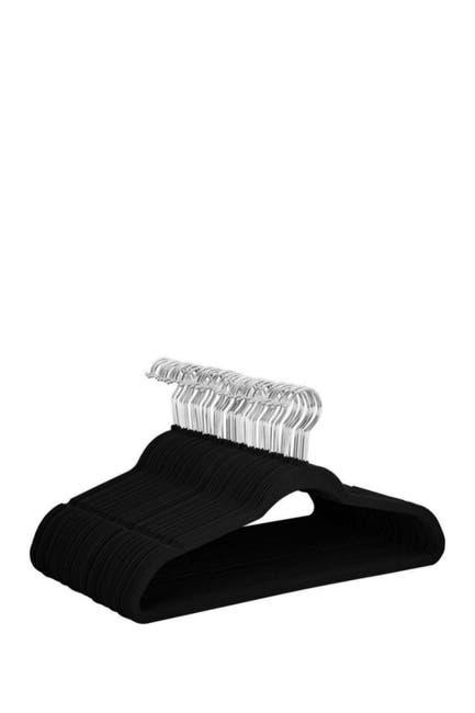 Image of Glomery Black Non-Slip Heavy-Duty Velvet Hangers - Pack of 100