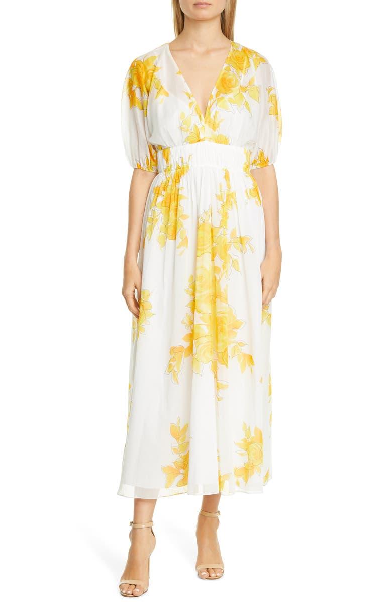 LELA ROSE Floral Print Empire Waist Cotton Maxi Dress, Main, color, 100