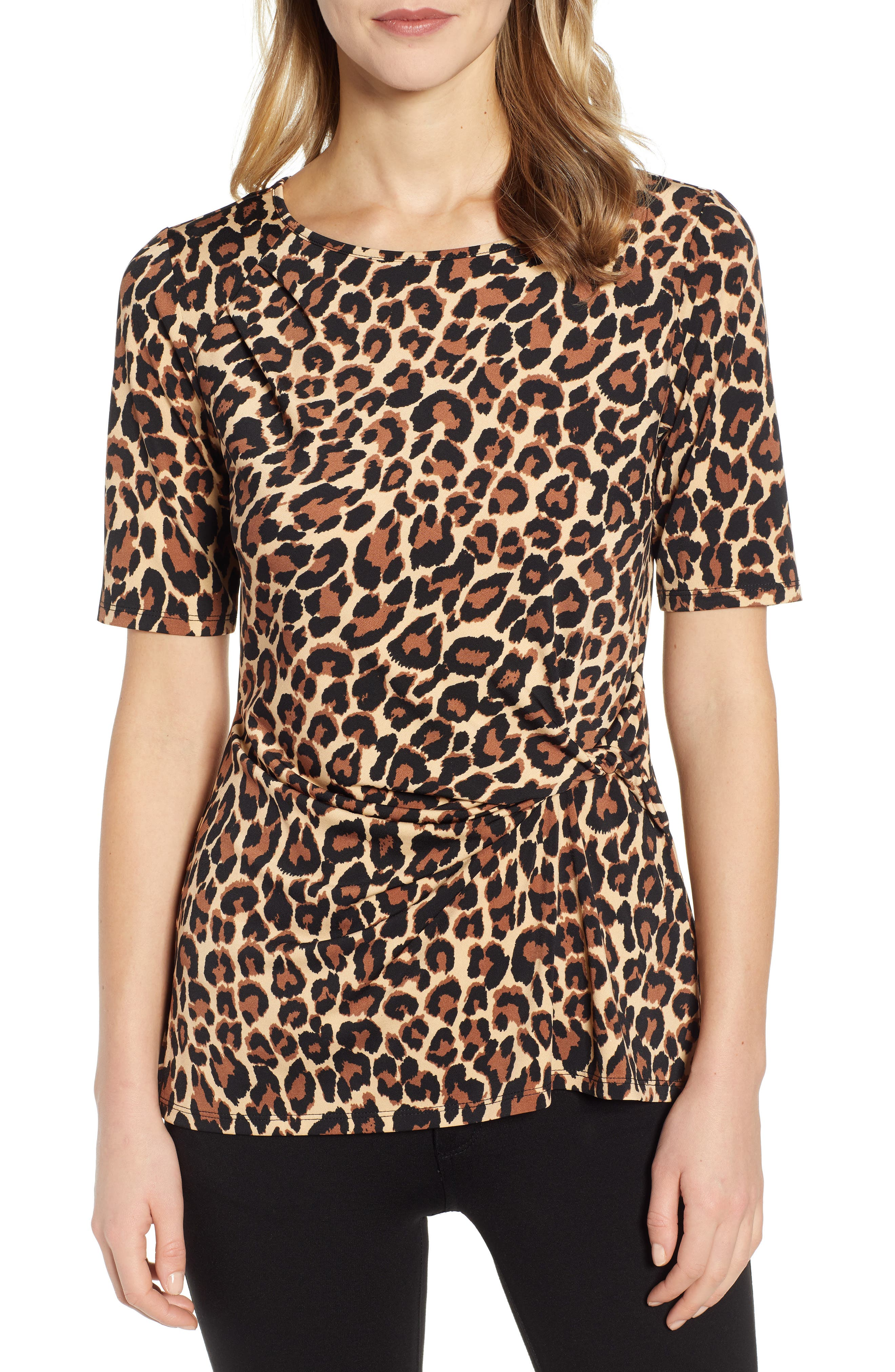 Image of Chaus Short Sleeve Side Knot Animal Top
