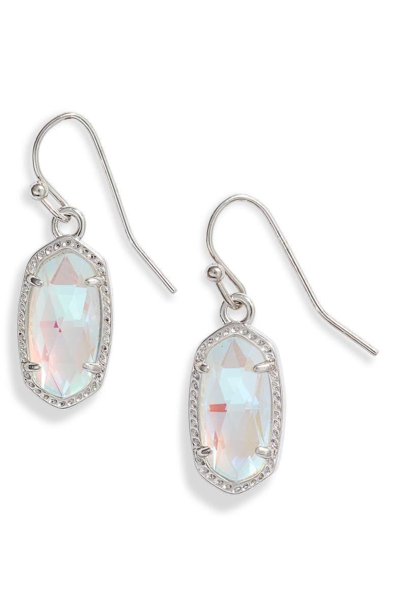 KENDRA SCOTT Lee Small Drop Earrings, Main, color, RHODIUM DICHROIC GLASS