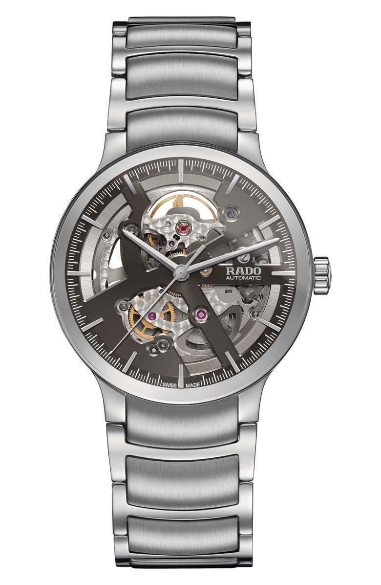 RADO Centrix Automatic Open Heart Bracelet Watch, 38mm, Main, color, SILVER/ GREY/ SILVER