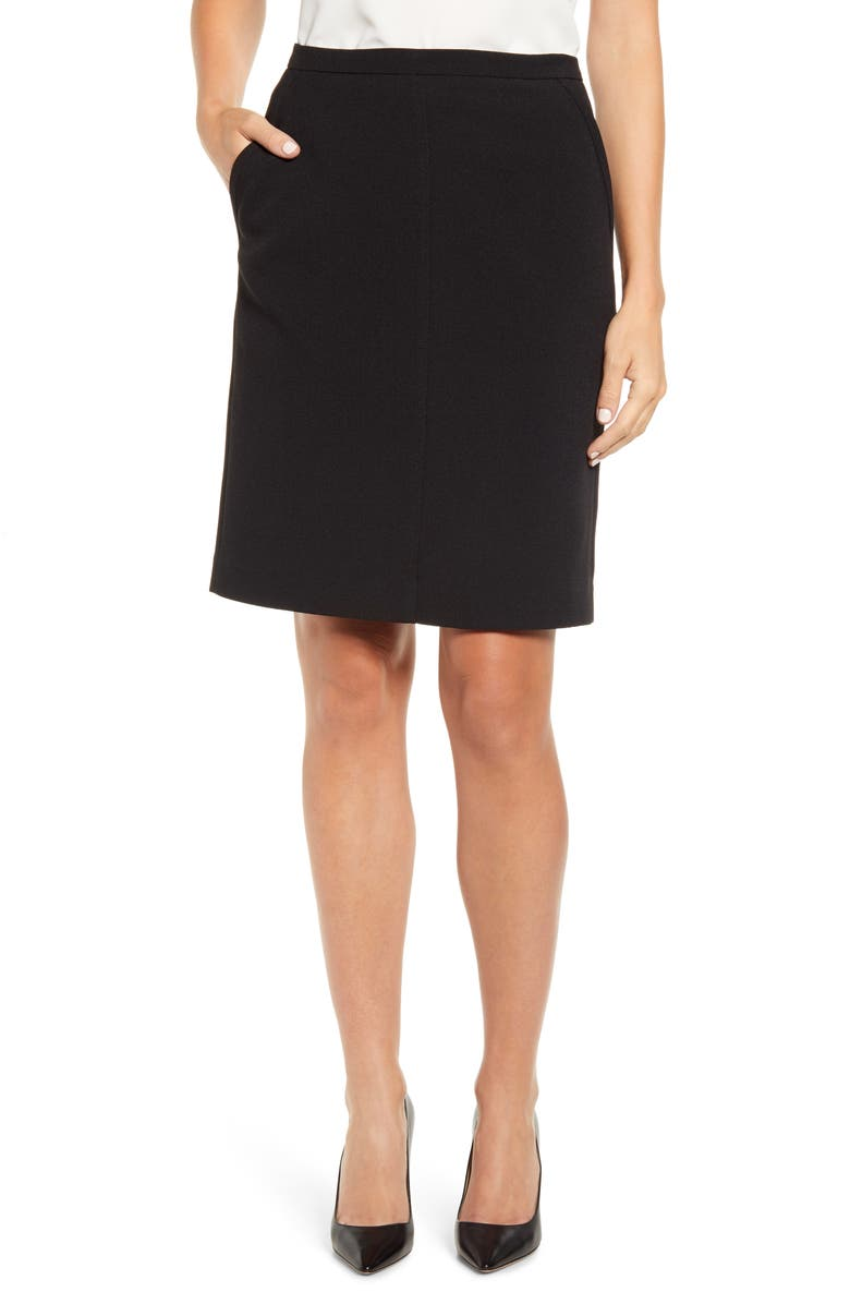 ANNE KLEIN Antonioni Crepe Skirt, Main, color, BLACK