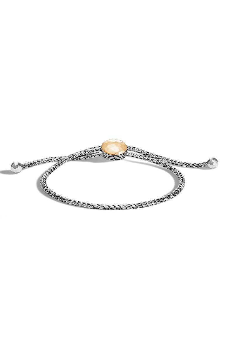JOHN HARDY Classic Chain Hammered Pull Through Bracelet, Main, color, GOLD/ SILVER