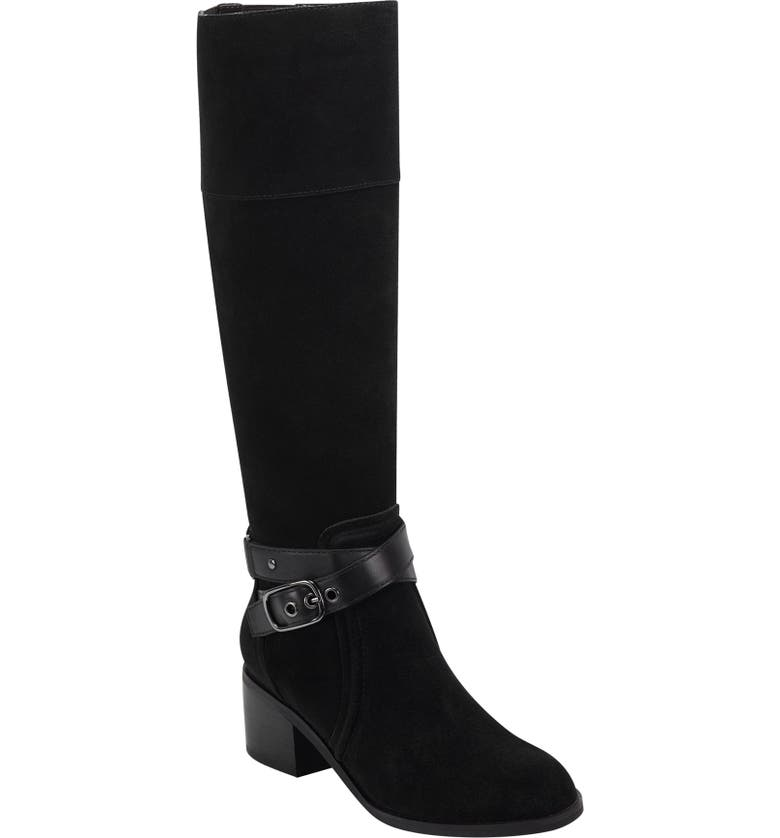 EVOLVE Titus Knee High Boot, Main, color, BLACK SUEDE