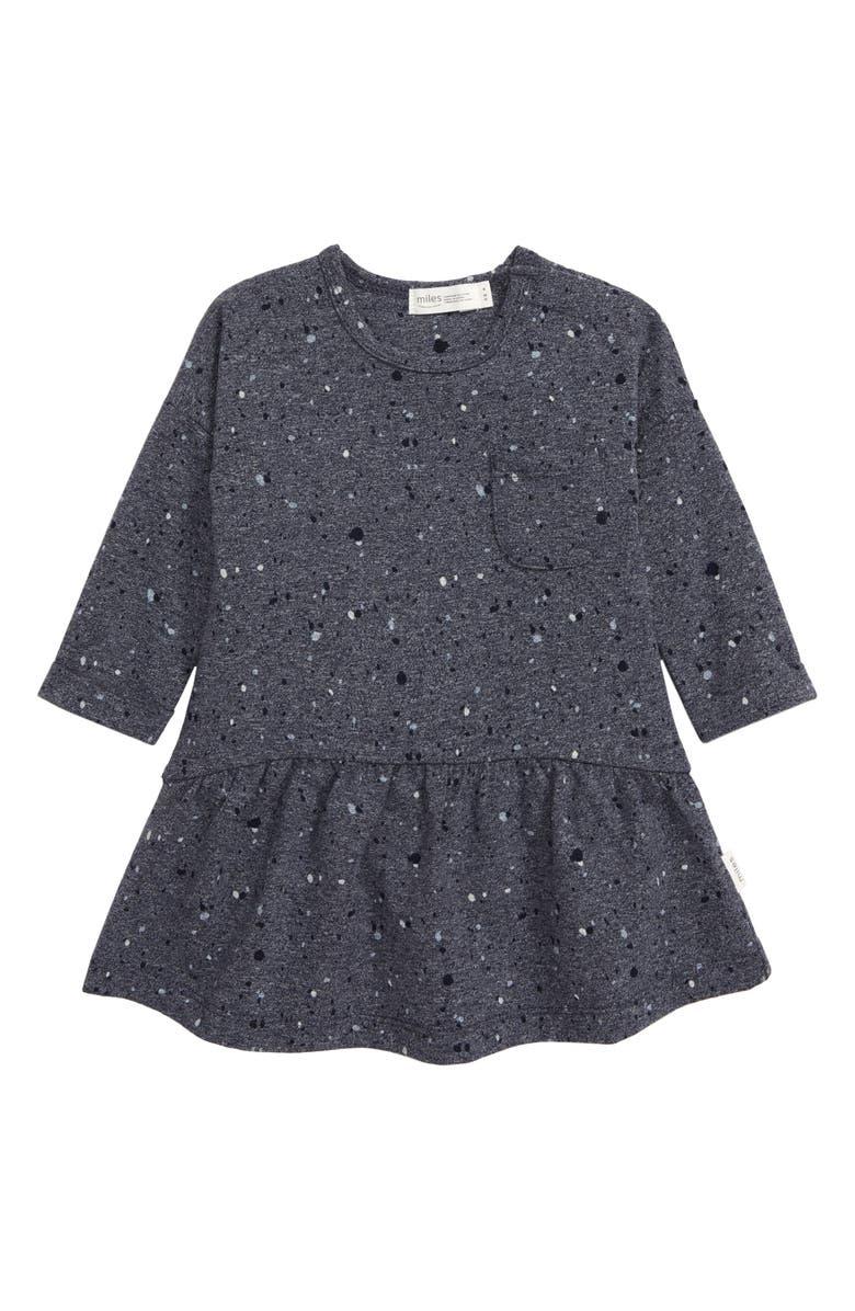 MILES BABY Speckled Knit Dress, Main, color, DARK BLUE