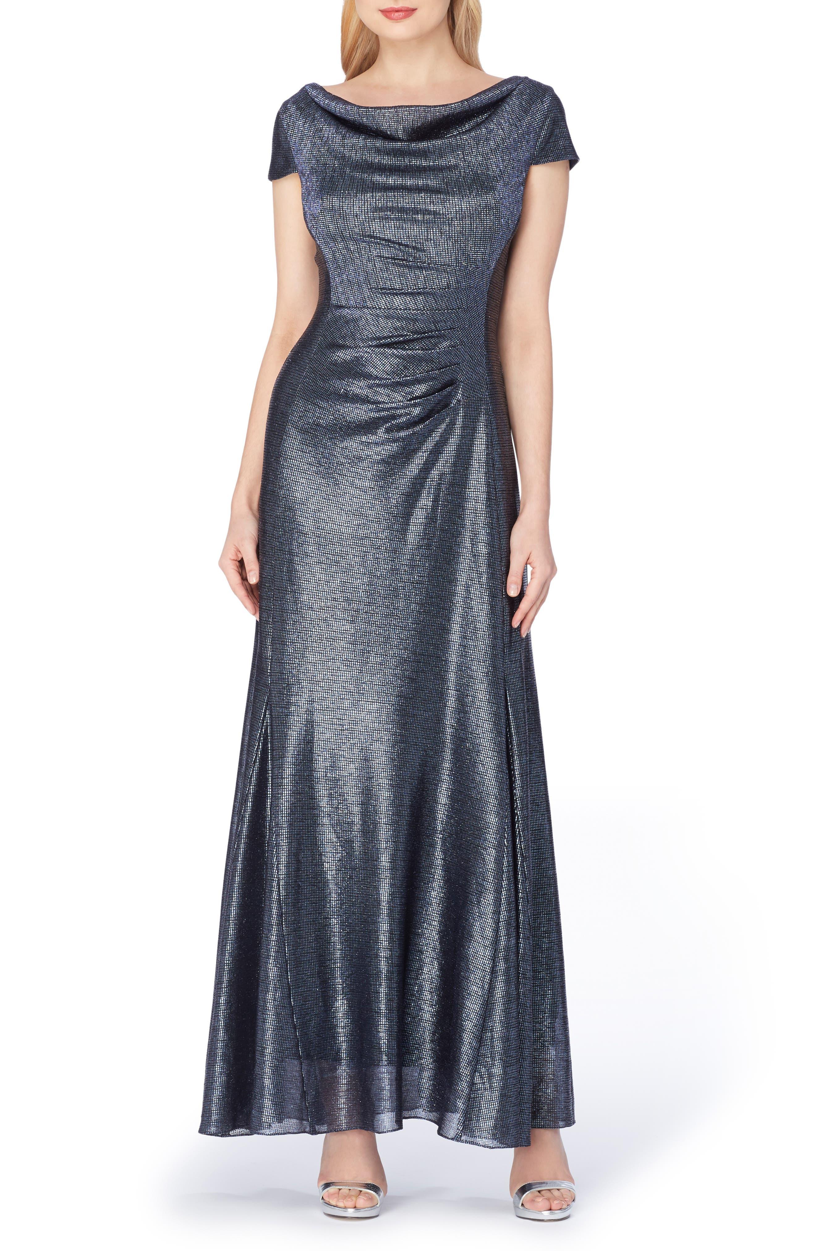Tahari Metallic Foil Draped Gown, Blue