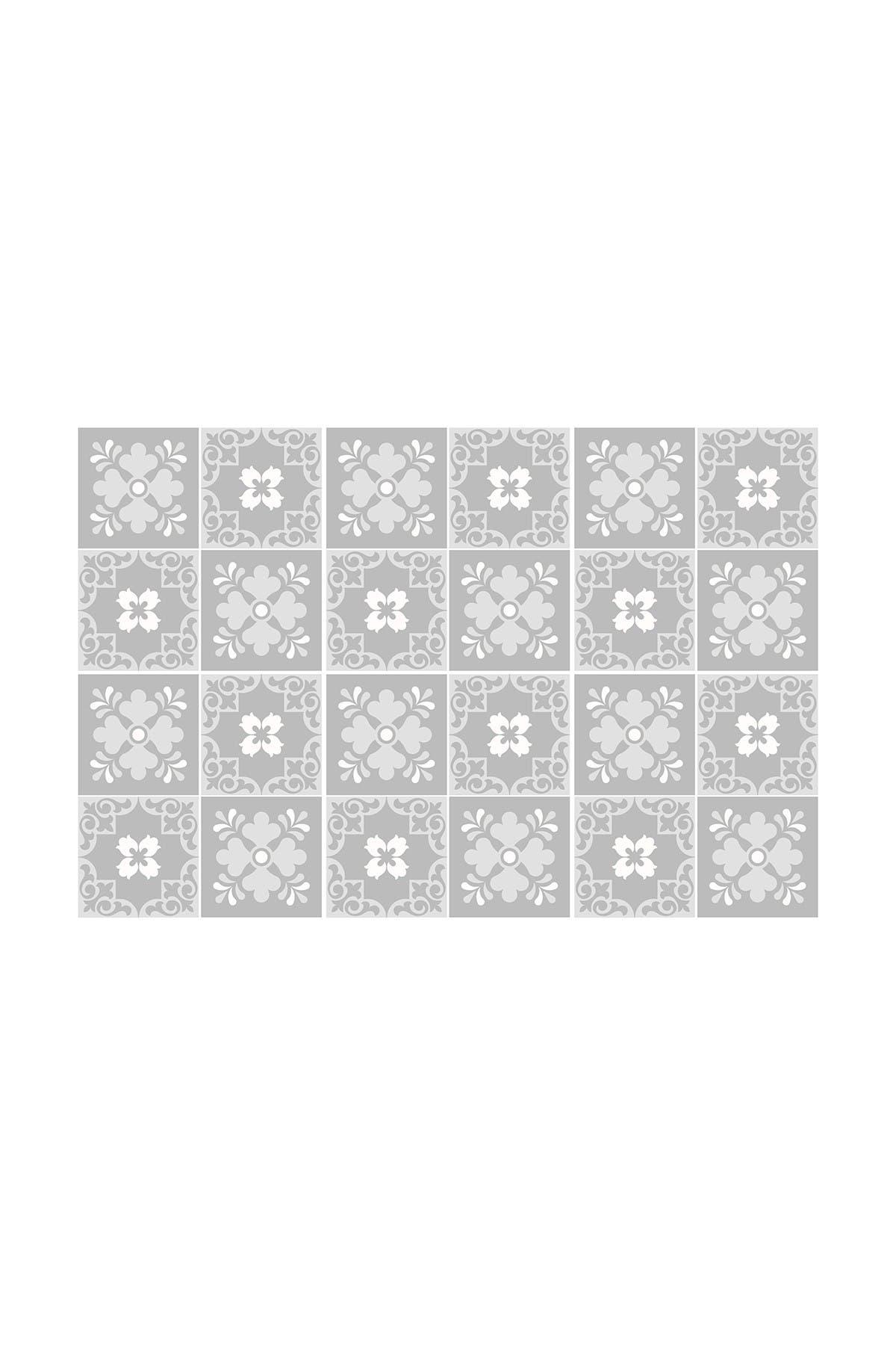 "Image of WalPlus Ginnie Floral Light Grey Victorian Wall Tile Sticker Set - 15cm x 15 cm (6"" x 6"") - 24-Piece"