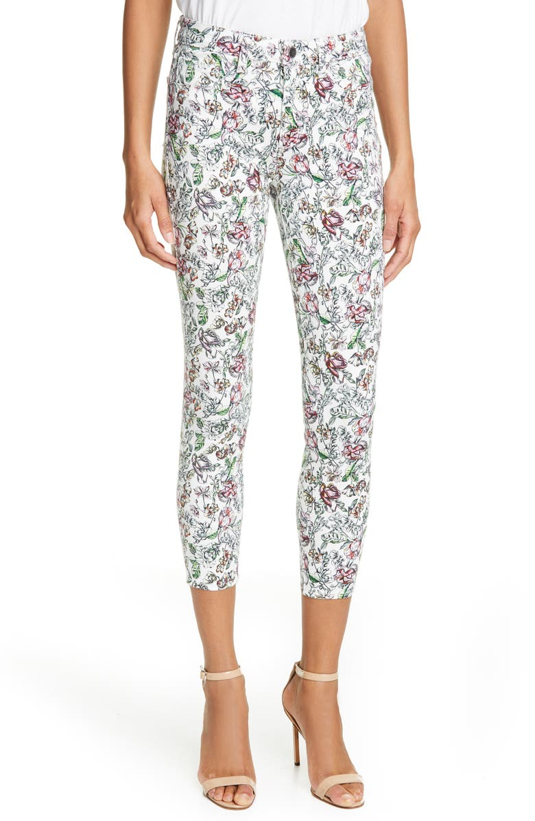 L'AGENCE Margot Hand Drawn Flower Skinny Crop Jeans, Main, color, 110
