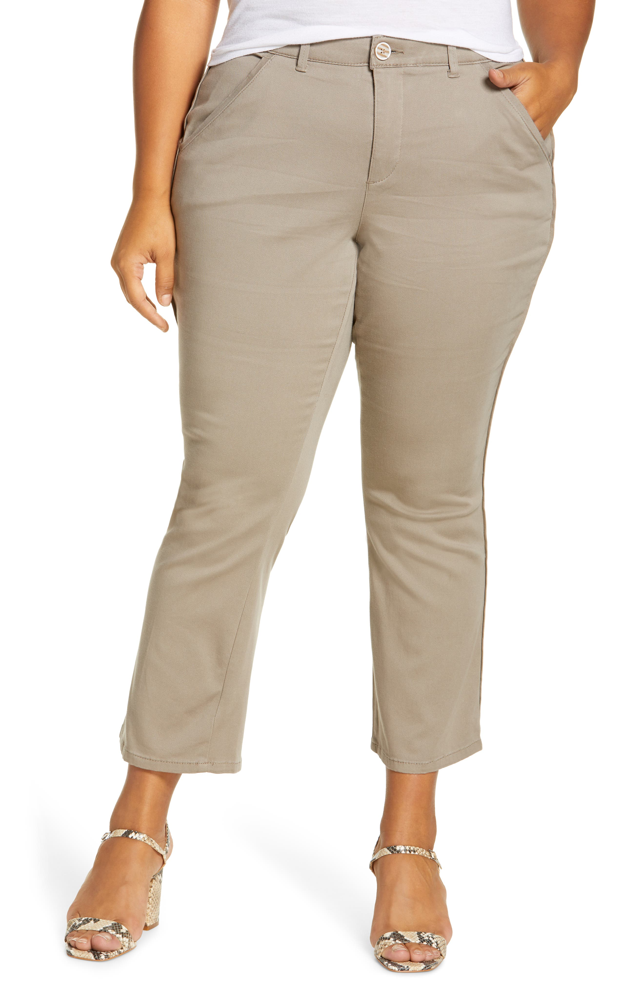 Staple pants are easy favorites thanks to power-mesh panels that mold and hold, plus a waistband that offers interior control and booty-lift construction. Style Name: Wit & Wisdom Ab-Solution Luxe Touch Cotton Blend Ankle Trousers (Plus Size) (Nordstrom Exclusive). Style Number: 6047210. Available in stores.