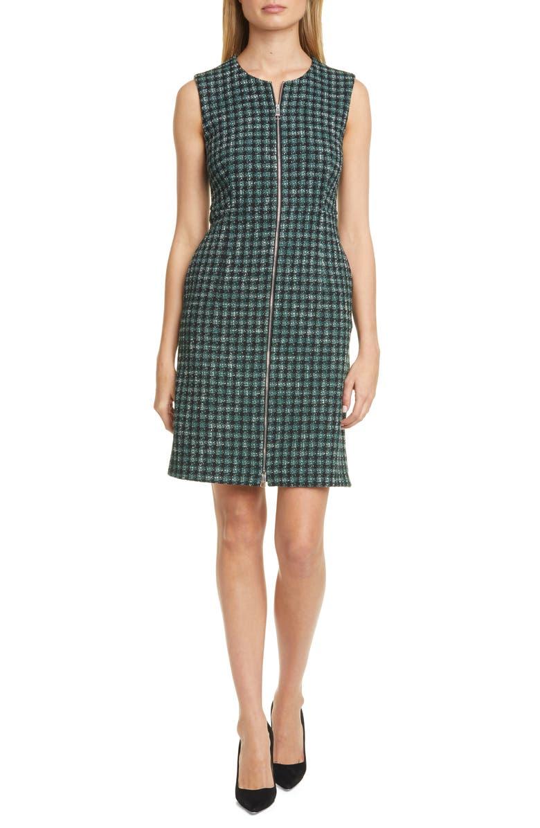 BOSS Darsha Tweed Sheath Dress, Main, color, PINE FANTASY