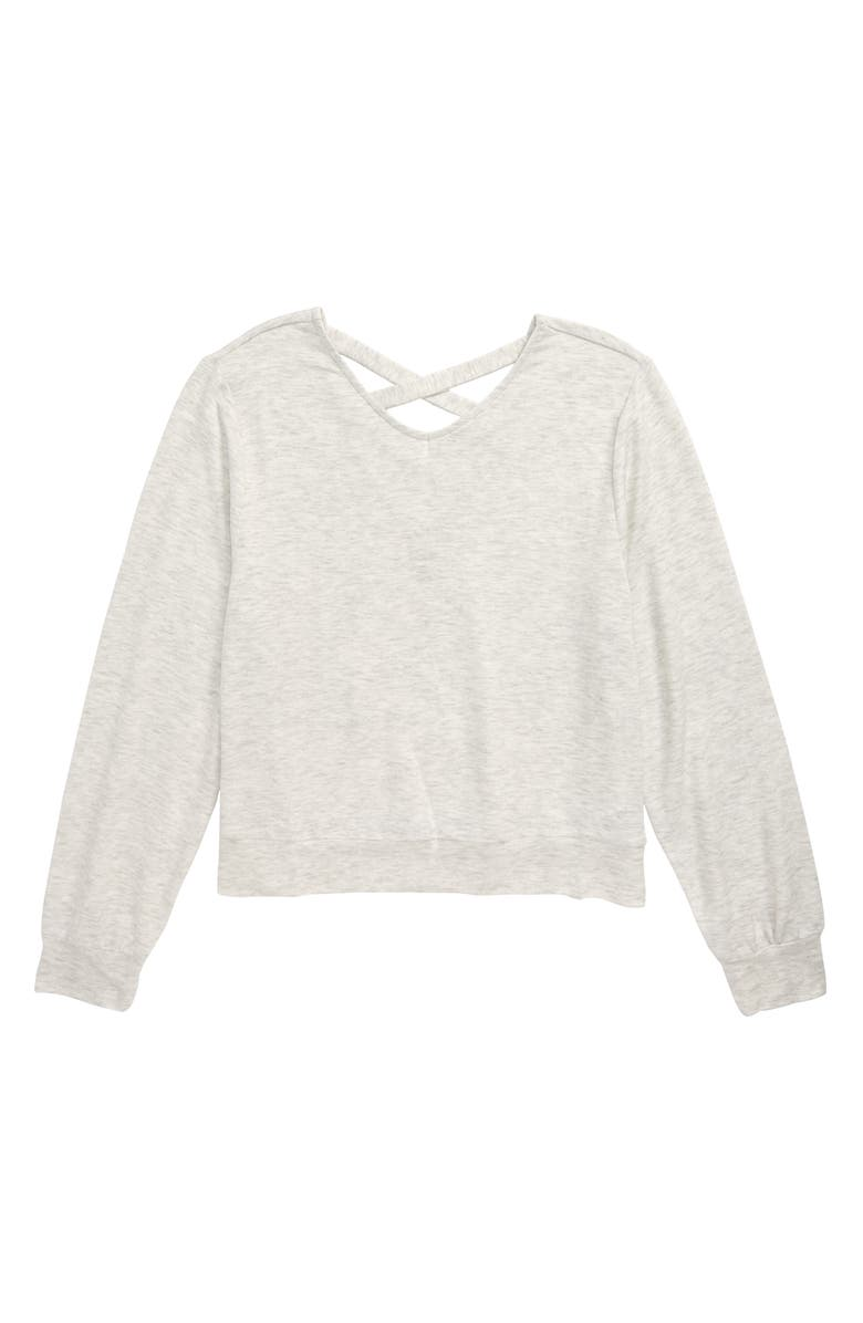 ZELLA GIRL Cross Back Sweatshirt, Main, color, WHITE HEATHER