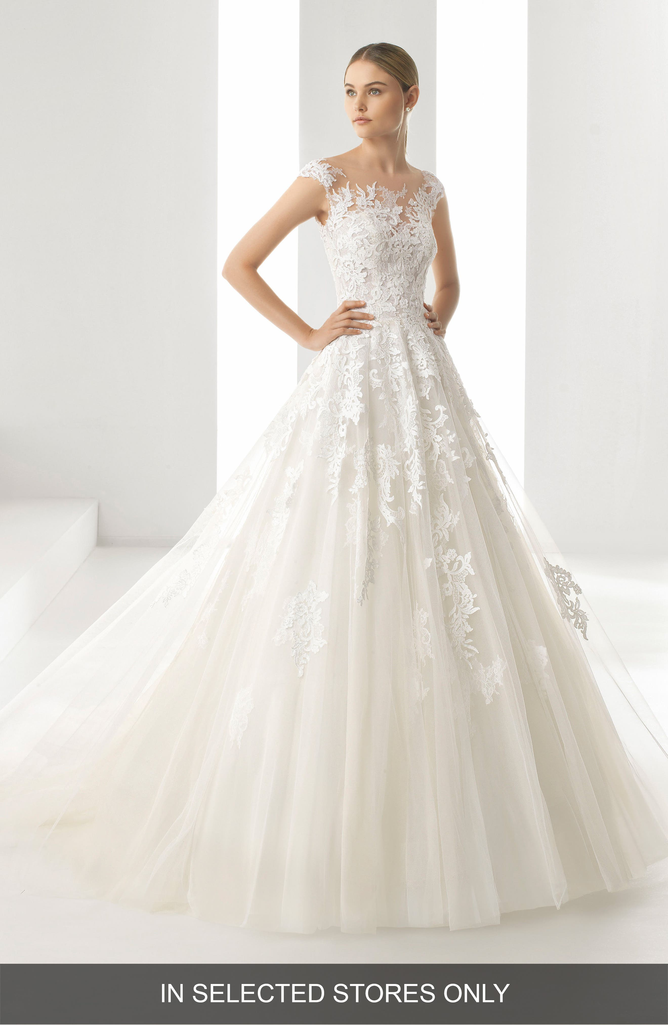 Rosa Clara Denis Illusion Lace & Tulle Gown, Size IN STORE ONLY - Ivory