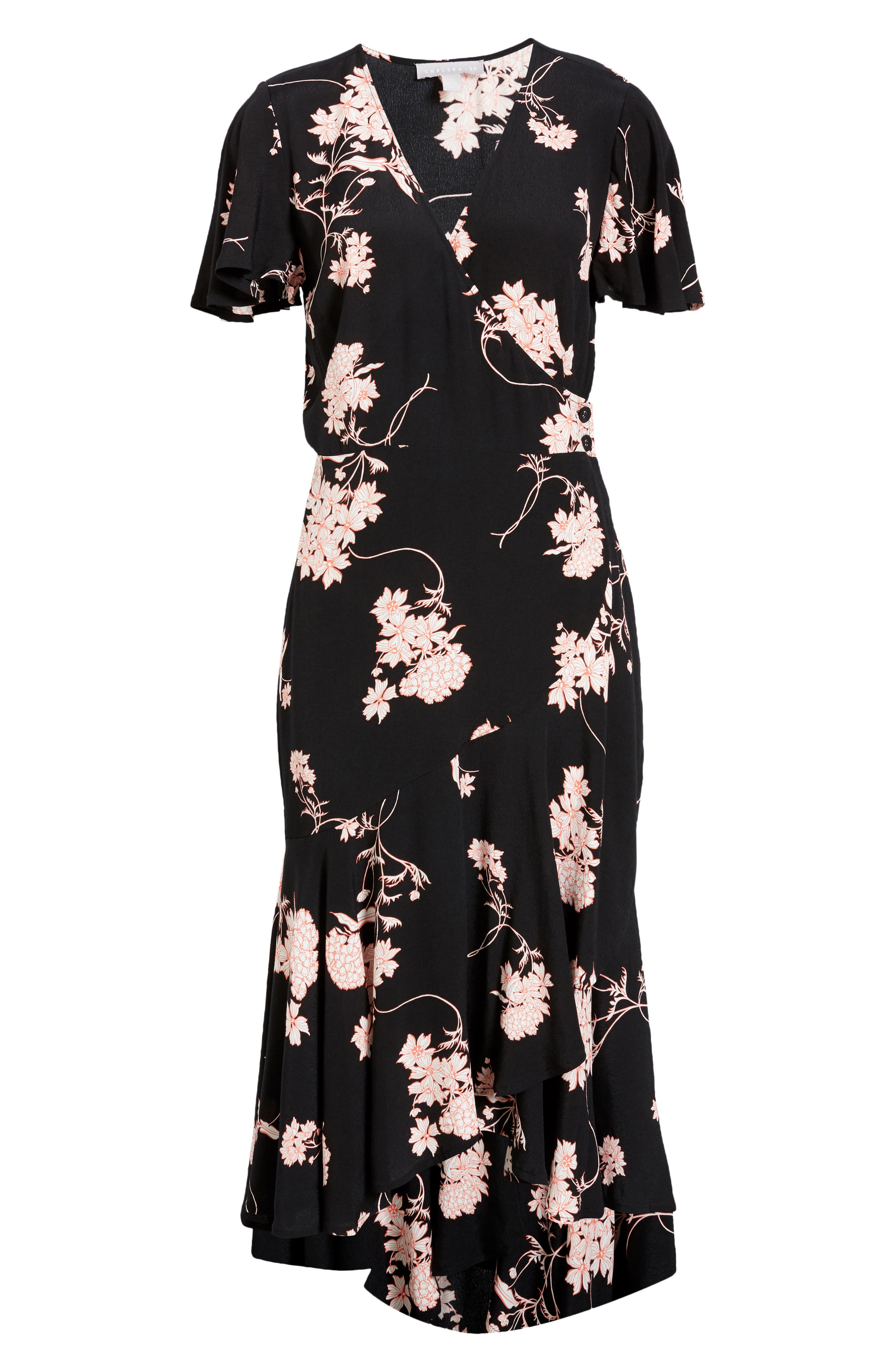 A cascading, ruffled hem brings twirl-worthy movement to a work-to-weekend dress with a wrap-inspired silhouette that buttons at the side. Style Name: Chelsea28 Ruffle Dress. Style Number: 5975221. Available in stores.