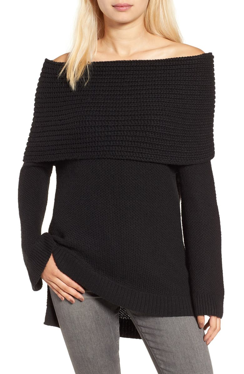 SUN & SHADOW Cowl Off the Shoulder Sweater, Main, color, 001