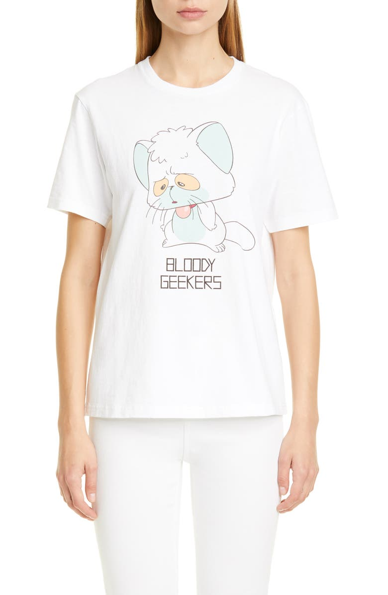 UNDERCOVER Bloody Geekers Cat Graphic Tee, Main, color, 100
