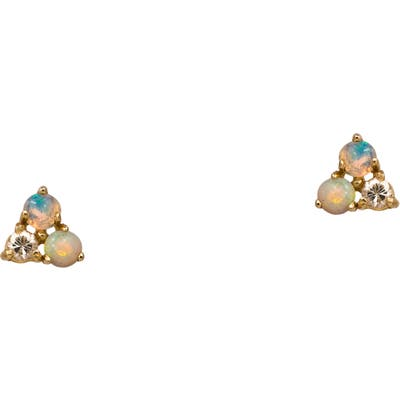 Wwake Counting Collection Three-Step Opal & Diamond Point Earrings