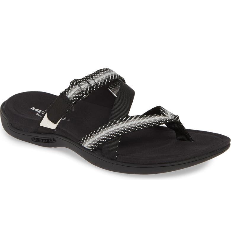 MERRELL District Mendi Slide Sandal, Main, color, BLACK LEATHER