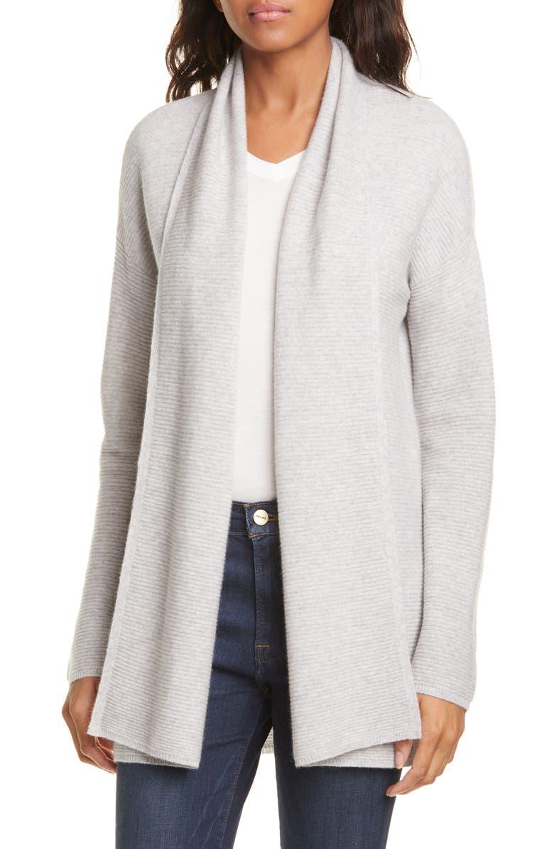 NORDSTROM SIGNATURE Rib Cashmere Cardigan, Main, color, GREY CLAY HEATHER