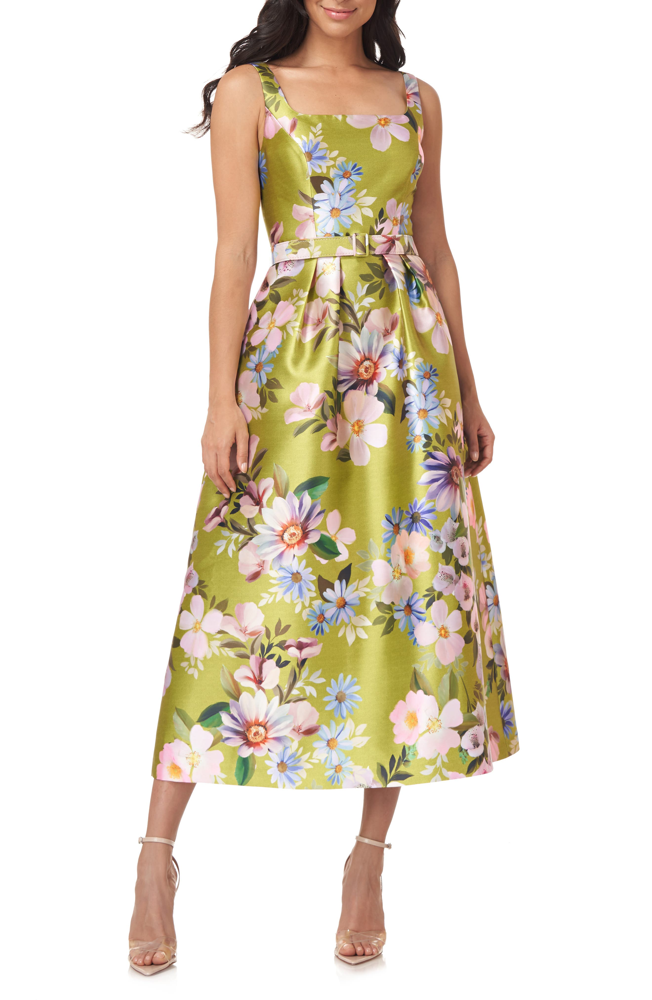 Floral Satin Belted Midi Dress
