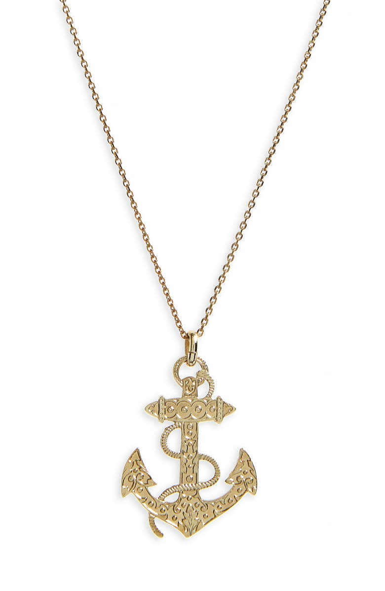 SAINT LAURENT Anchor Pendant Necklace, Main, color, 710