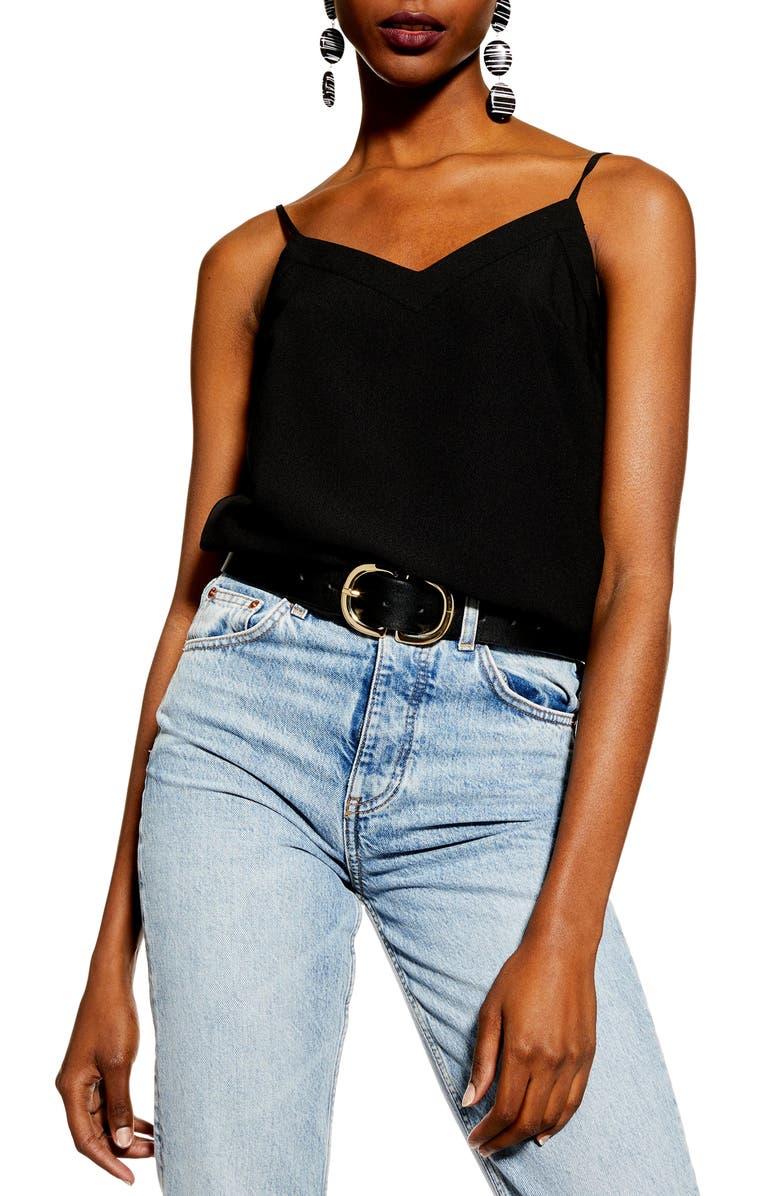 TOPSHOP V-Neck Inset Camisole Top, Main, color, BLACK