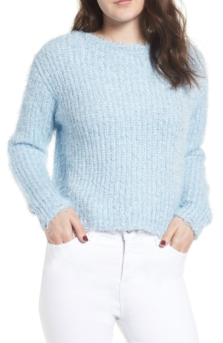 LOVE BY DESIGN Eyelash Chenille Distressed Sweater, Main, color, 400