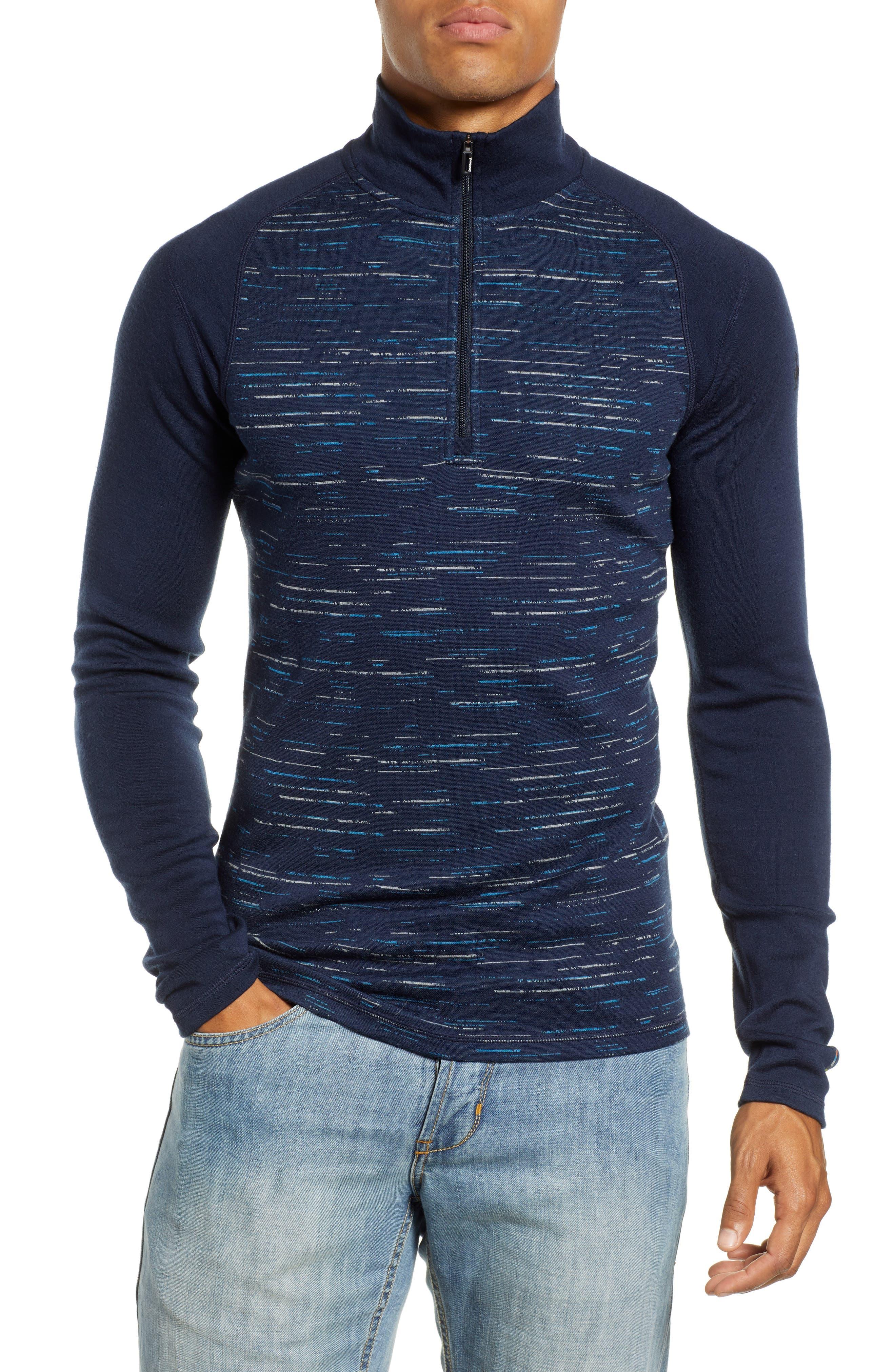 Smartwool Merino 250 Base Layer Pattern Quarter Zip Pullover, Blue