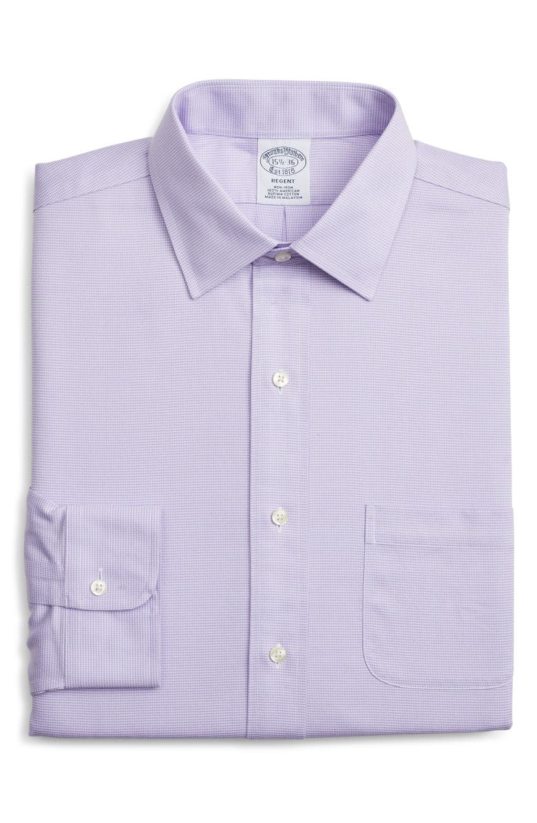 BROOKS BROTHERS Regular Fit Solid Dress Shirt, Main, color, PURPLE