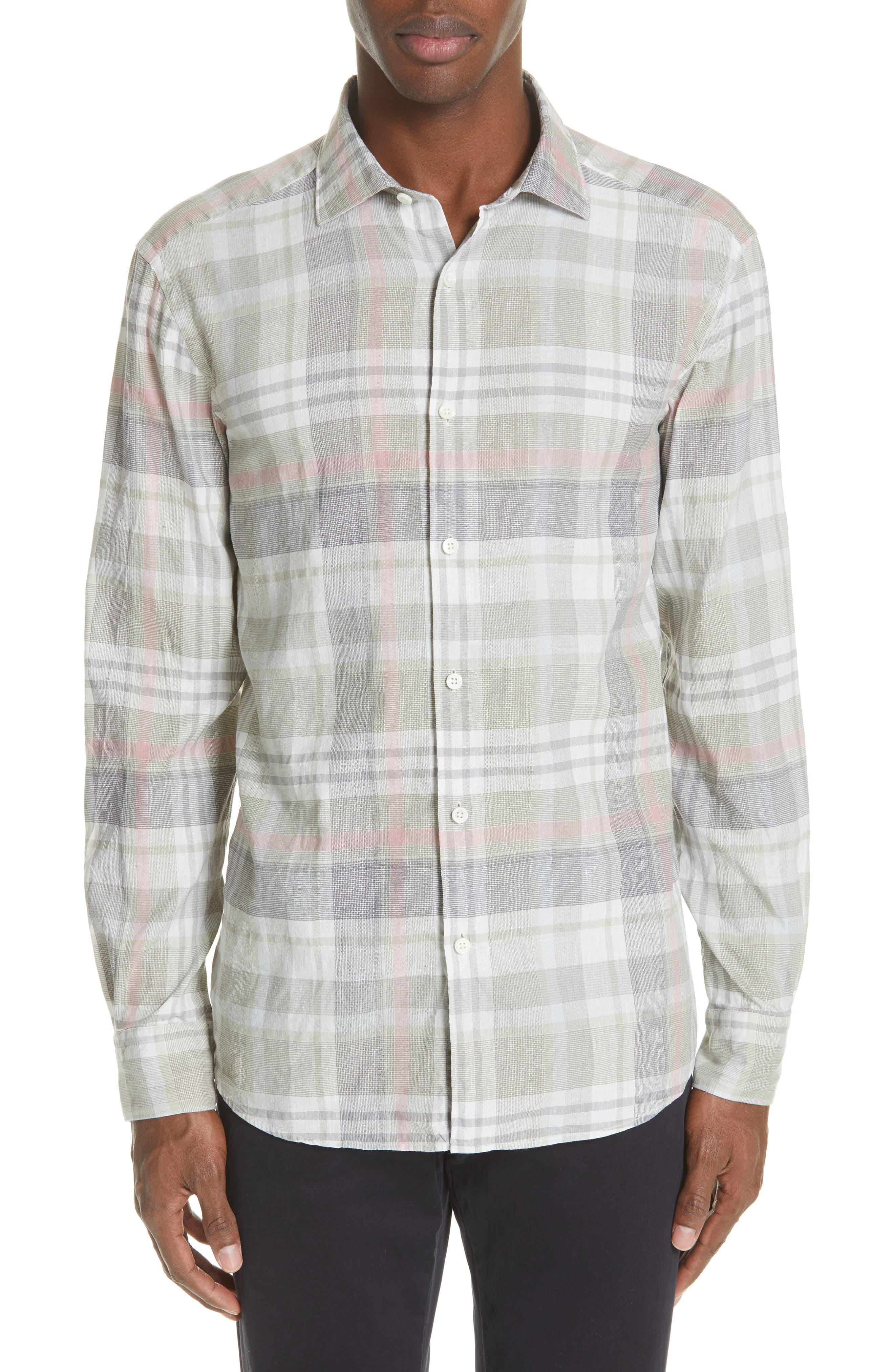 Slim Fit Plaid Linen & Cotton Sport Shirt, Main, color, SAGE