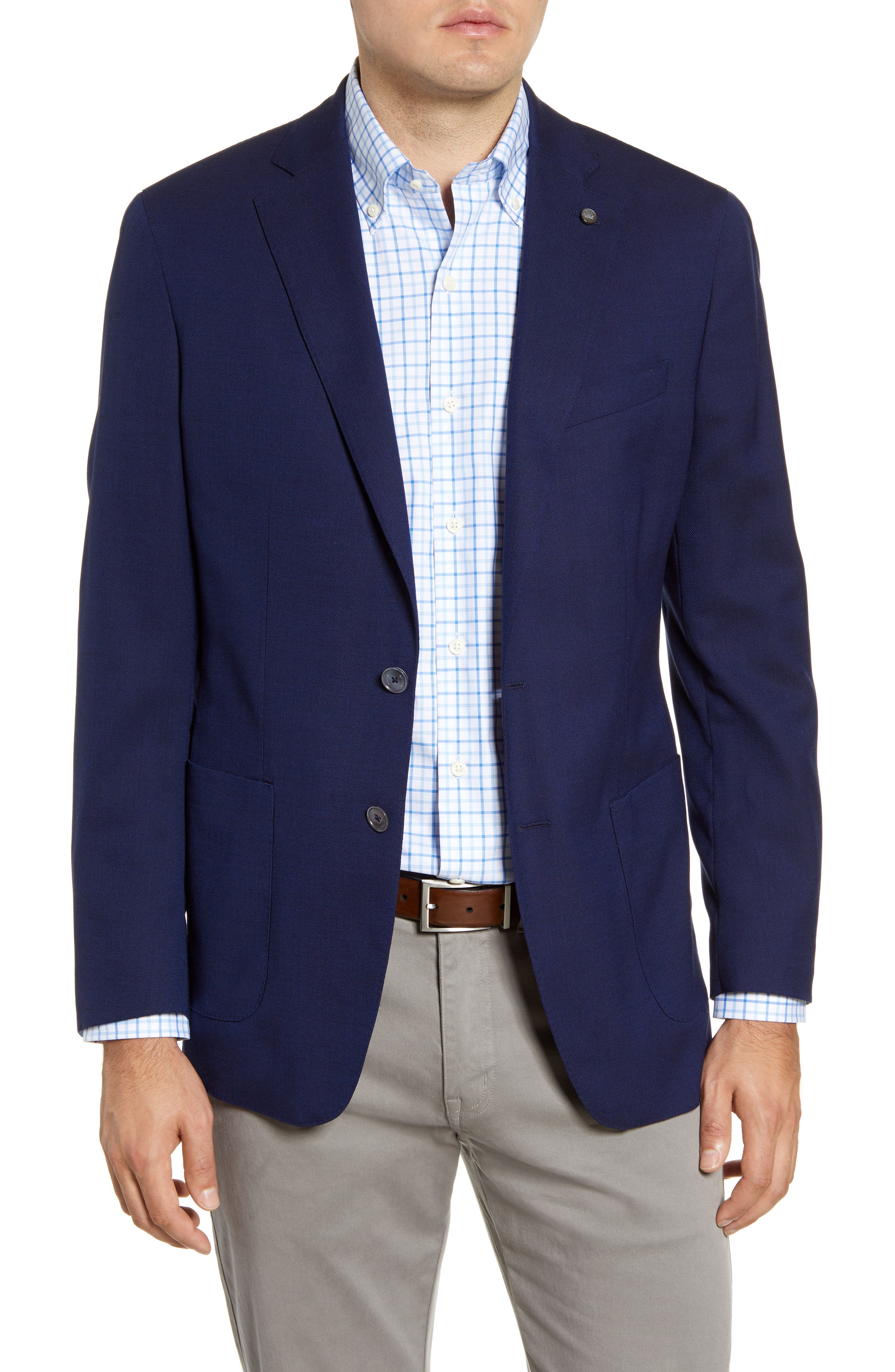 Give your work lineup an upgrade with this impeccable jacket in a luxe blend of stretch wool and silk in a rich navy hue. Style Name: Peter Millar Excursionist Flex Sport Coat. Style Number: 5896812. Available in stores.
