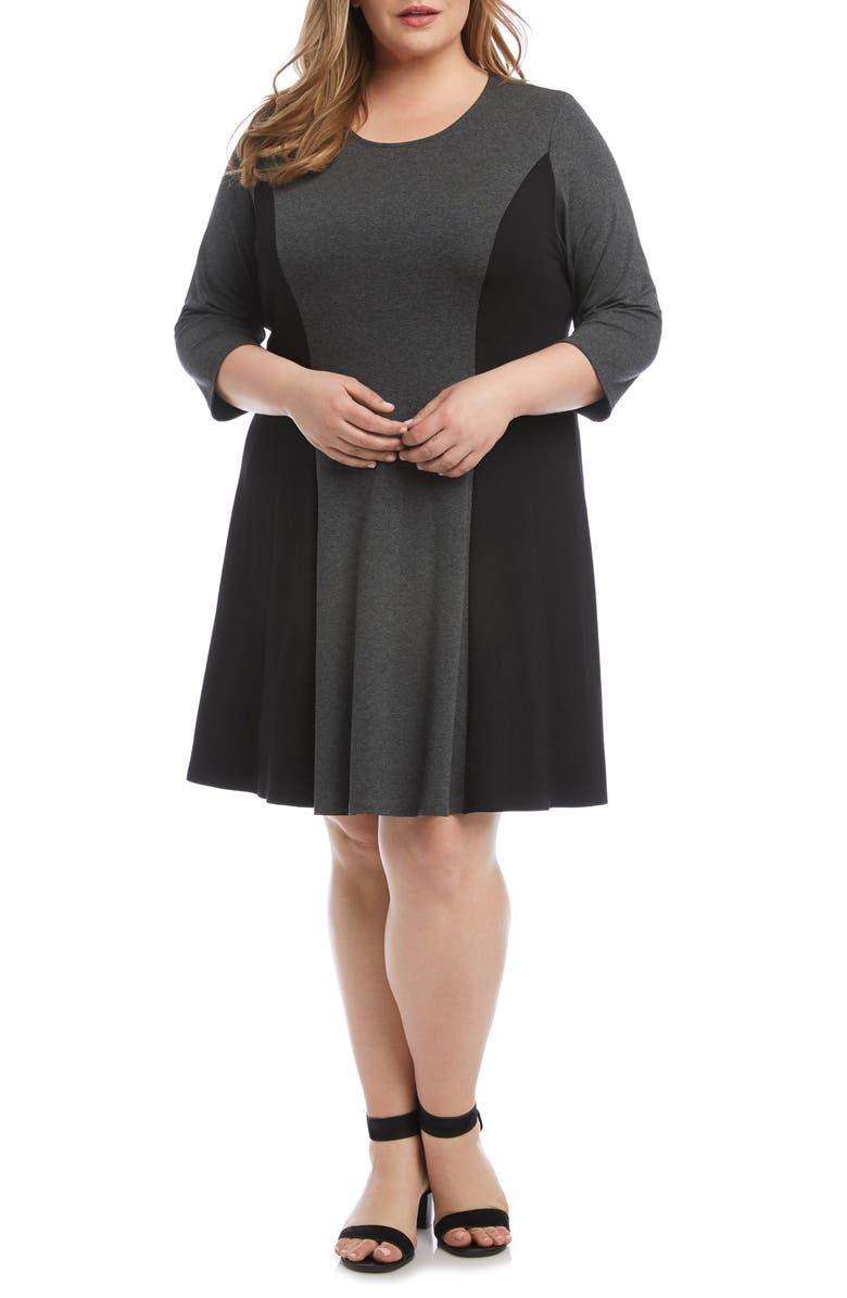 KAREN KANE Colorblock A-Line Knit Dress, Main, color, GRAY