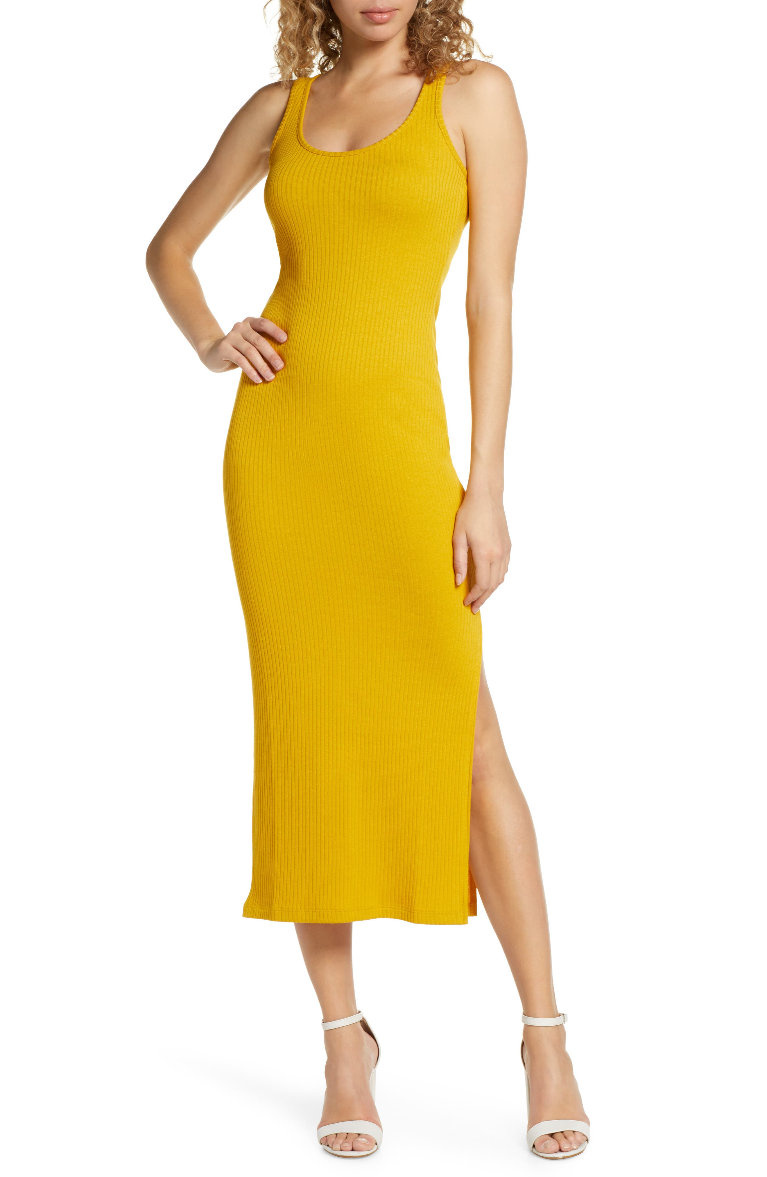 French Connection Tommy Rib Midi Dress, Yellow