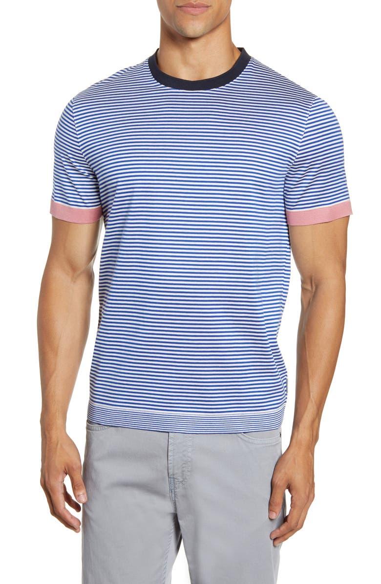 TED BAKER LONDON Ribstart Slim Fit Stripe T-Shirt, Main, color, BLUE