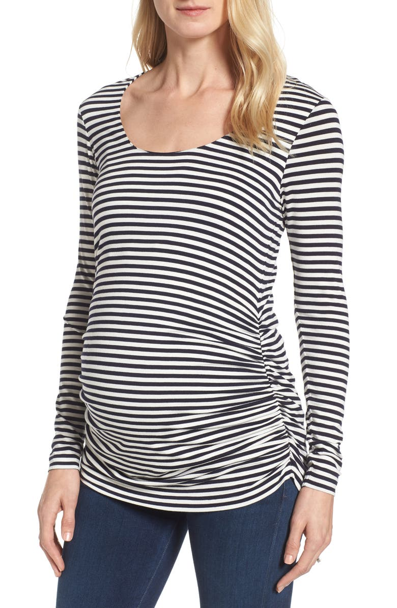ISABELLA OLIVER Arlington Stripe Maternity Tee, Main, color, NAVY/ OFF WHITE