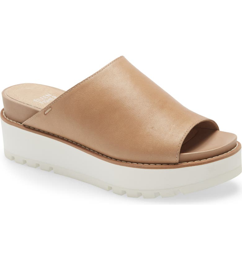 EILEEN FISHER Level Platform Slide Sandal, Main, color, BARLEY LEATHER