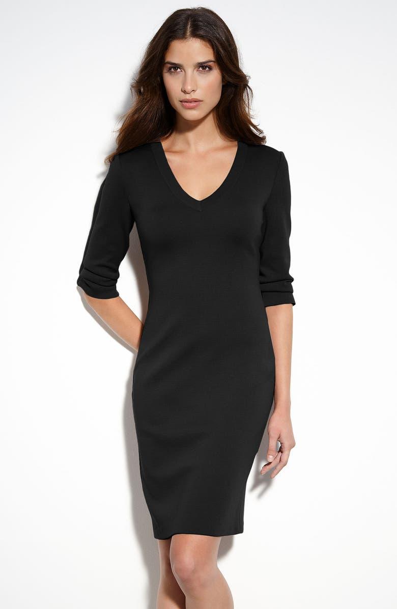 ST. JOHN COLLECTION V-Neck Milano Knit Dress, Main, color, 001