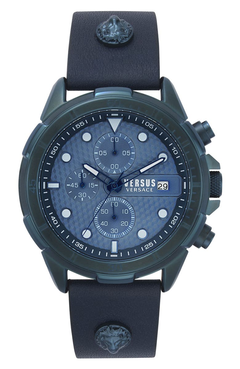 VERSUS VERSACE Arrondissement Chronograph Leather Strap Watch, 46mm, Main, color, BLUE