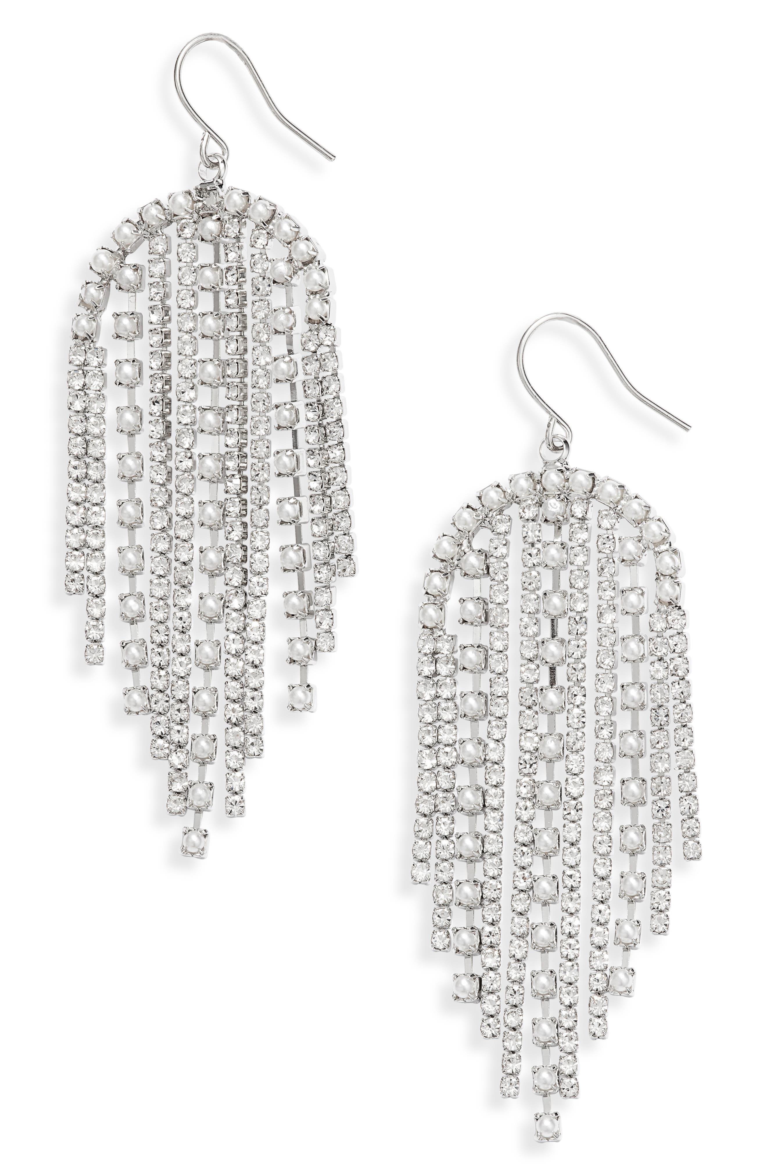 Crystal & Imitation Pearl Fringe Earrings