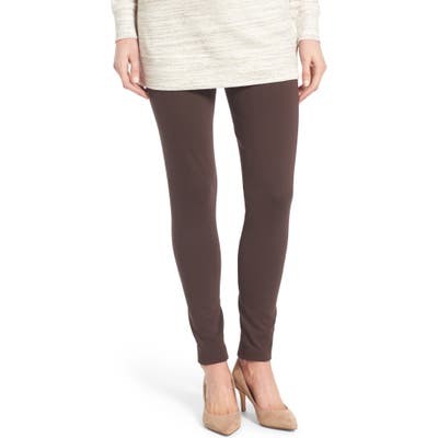 Petite Two By Vince Camuto Seamed Back Leggings, Brown