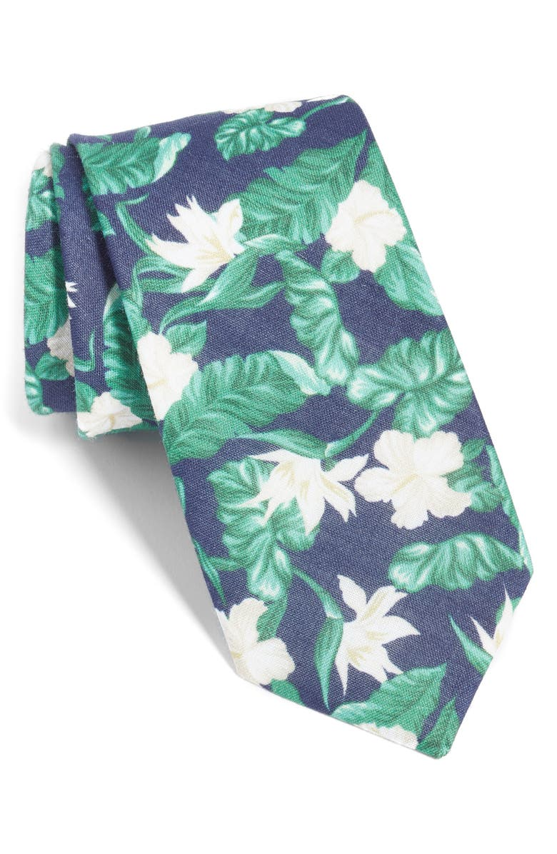 THE TIE BAR Floral Linen Tie, Main, color, 410