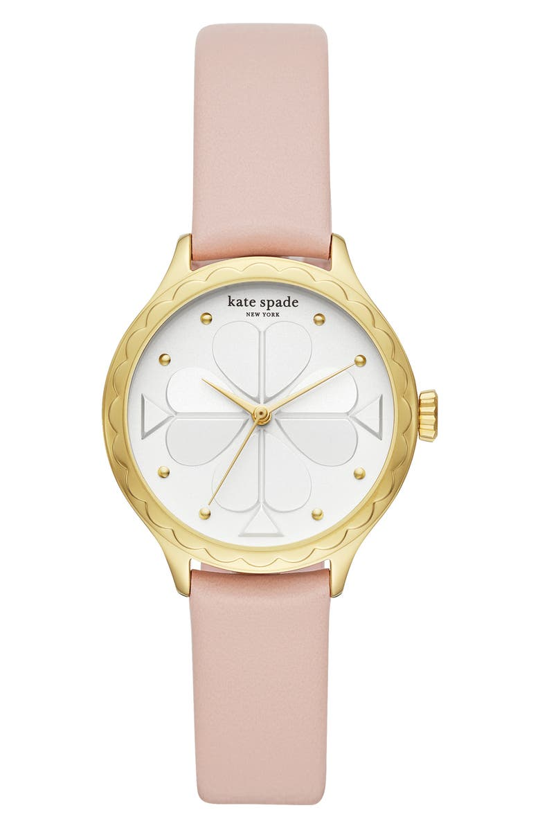 KATE SPADE NEW YORK rosebank scallop leather strap watch, 32mm, Main, color, TAN/ WHITE/ GOLD