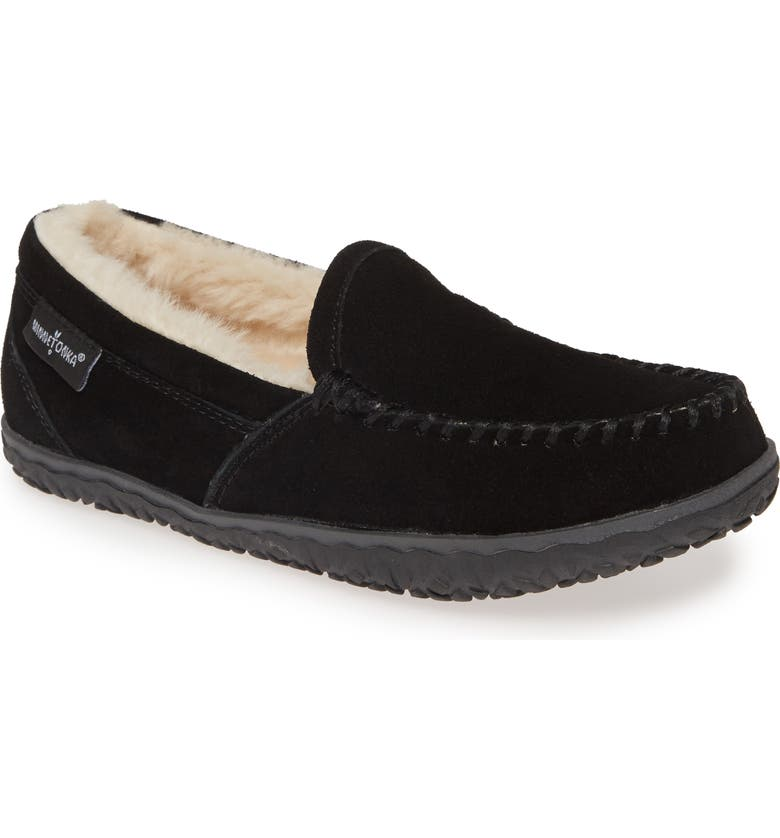 MINNETONKA Tempe Moccasin Slipper, Main, color, BLACK SUEDE