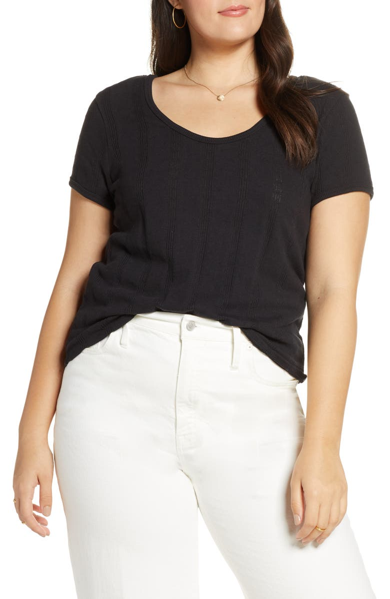 MADEWELL Pointelle Ribbed Tee, Main, color, 001